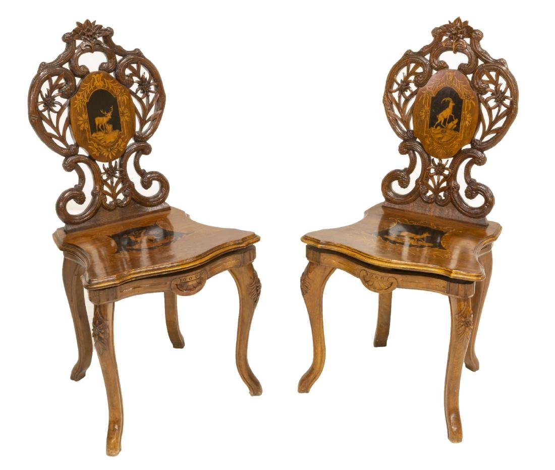 (2) BLACK FOREST FIGURAL MARQUETRY SIDE CHAIRS