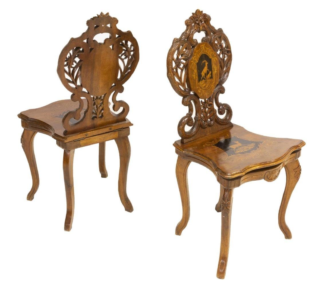 (2) BLACK FOREST FIGURAL MARQUETRY SIDE CHAIRS - 2