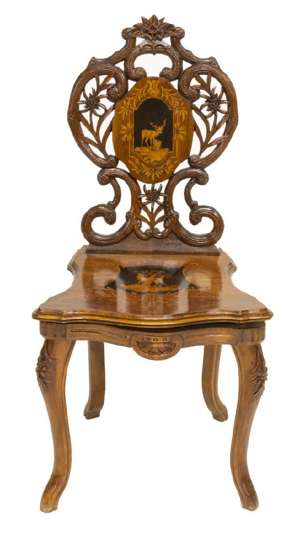 (2) BLACK FOREST FIGURAL MARQUETRY SIDE CHAIRS - 3