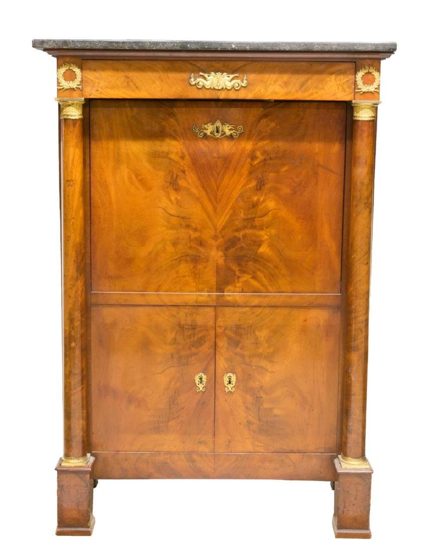 FRENCH EMPIRE STYLE MAHOGANY SECRETARY ABBATTANT - 3