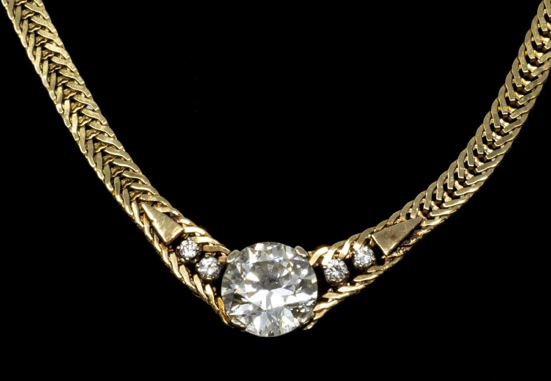 FINE ESTATE 14KT & 3.30CTTW DIAMOND NECKLACE - 2