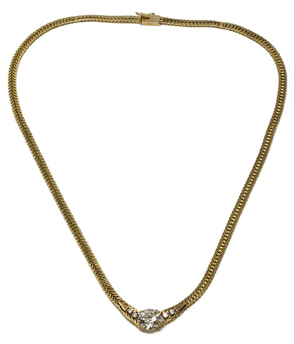FINE ESTATE 14KT & 3.30CTTW DIAMOND NECKLACE - 3