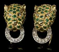 14KT GOLD EMERALD  DIAMOND PANTHER EARRINGS