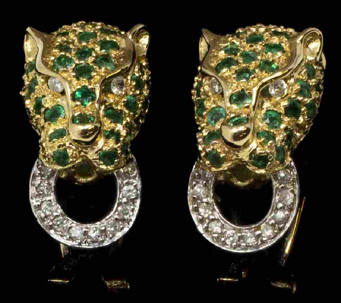 14KT GOLD, EMERALD & DIAMOND PANTHER EARRINGS