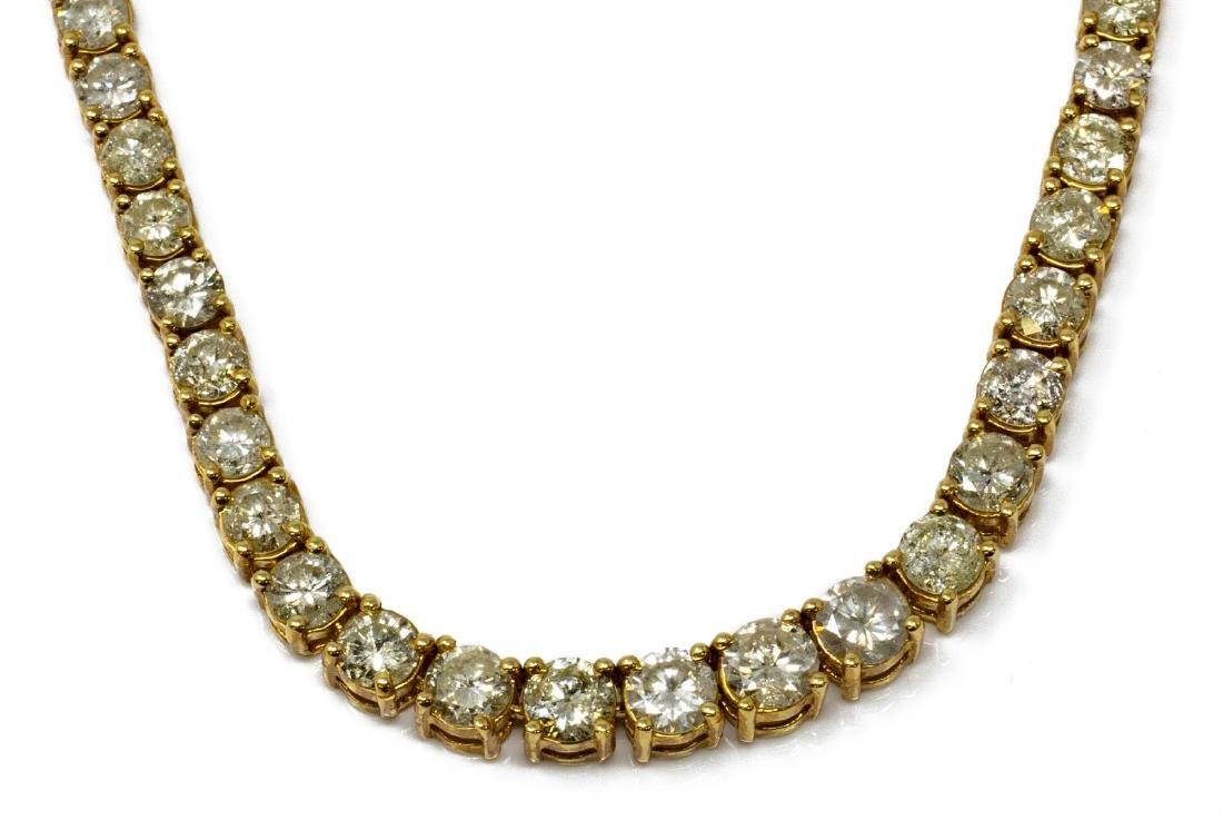 ESTATE 18KT GOLD 19.00CTTW DIAMOND TENNIS NECKLACE