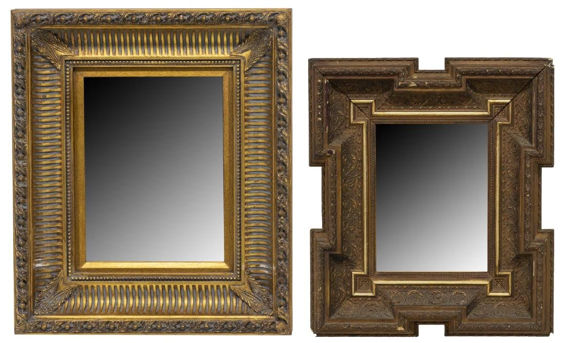 (2) ENGLISH CARVED GILT WOOD WALL MIRRORS