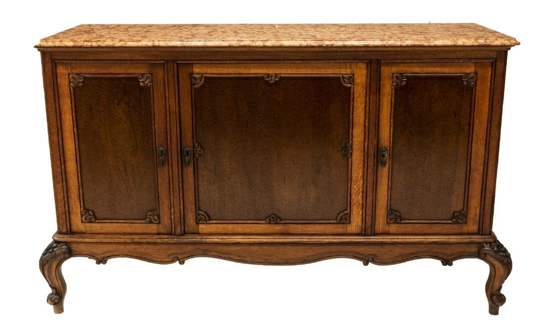 FRENCH LOUIS XV STYLE MARBLE TOP SIDEBOARD - 2