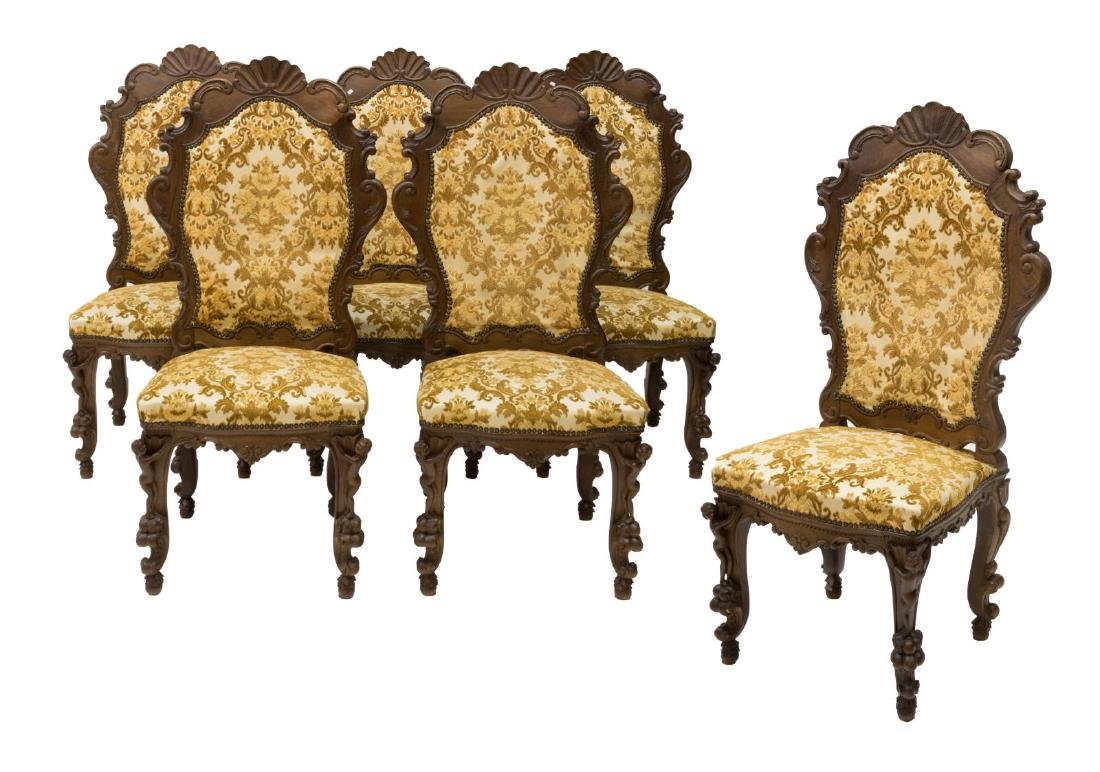 6) ORNATE ITALIAN SHELL & PUTTI CARVED SIDE CHAIRS