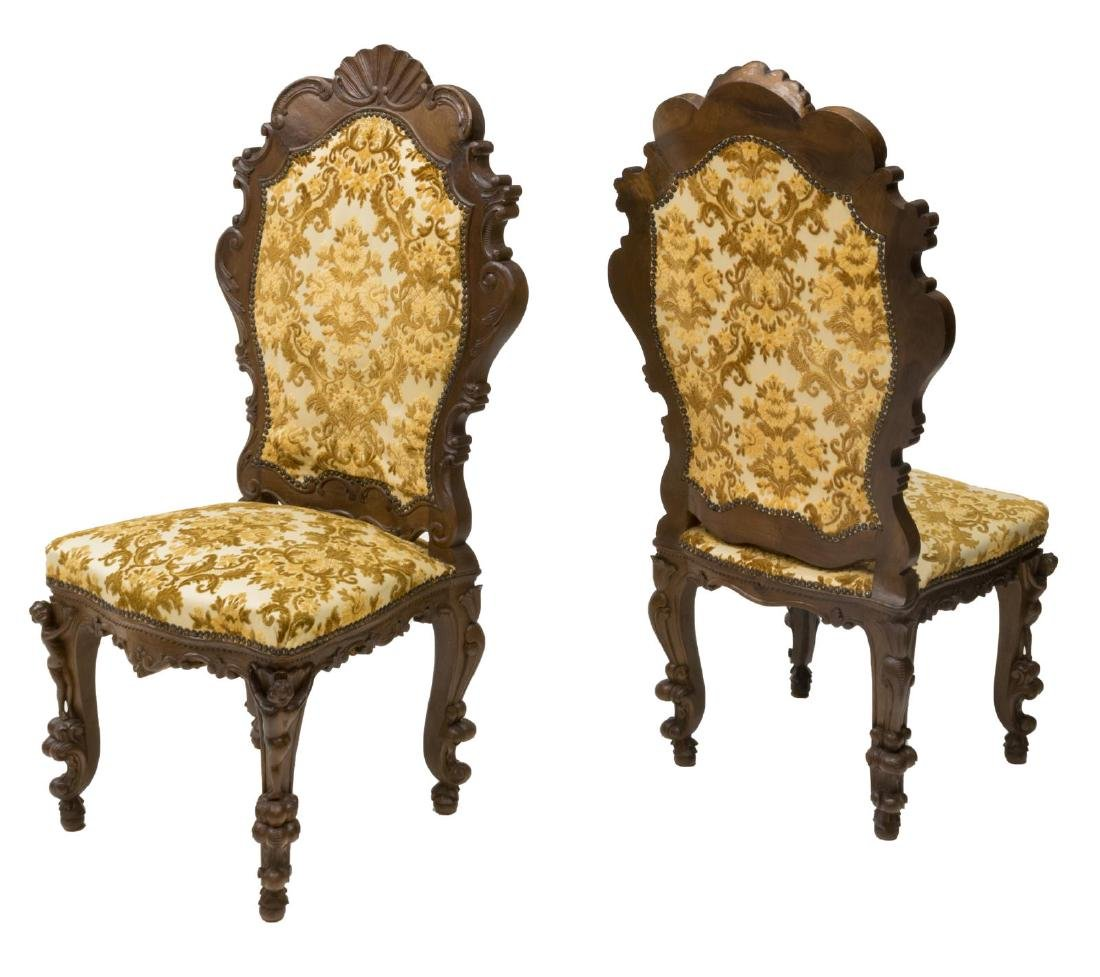 6) ORNATE ITALIAN SHELL & PUTTI CARVED SIDE CHAIRS - 2