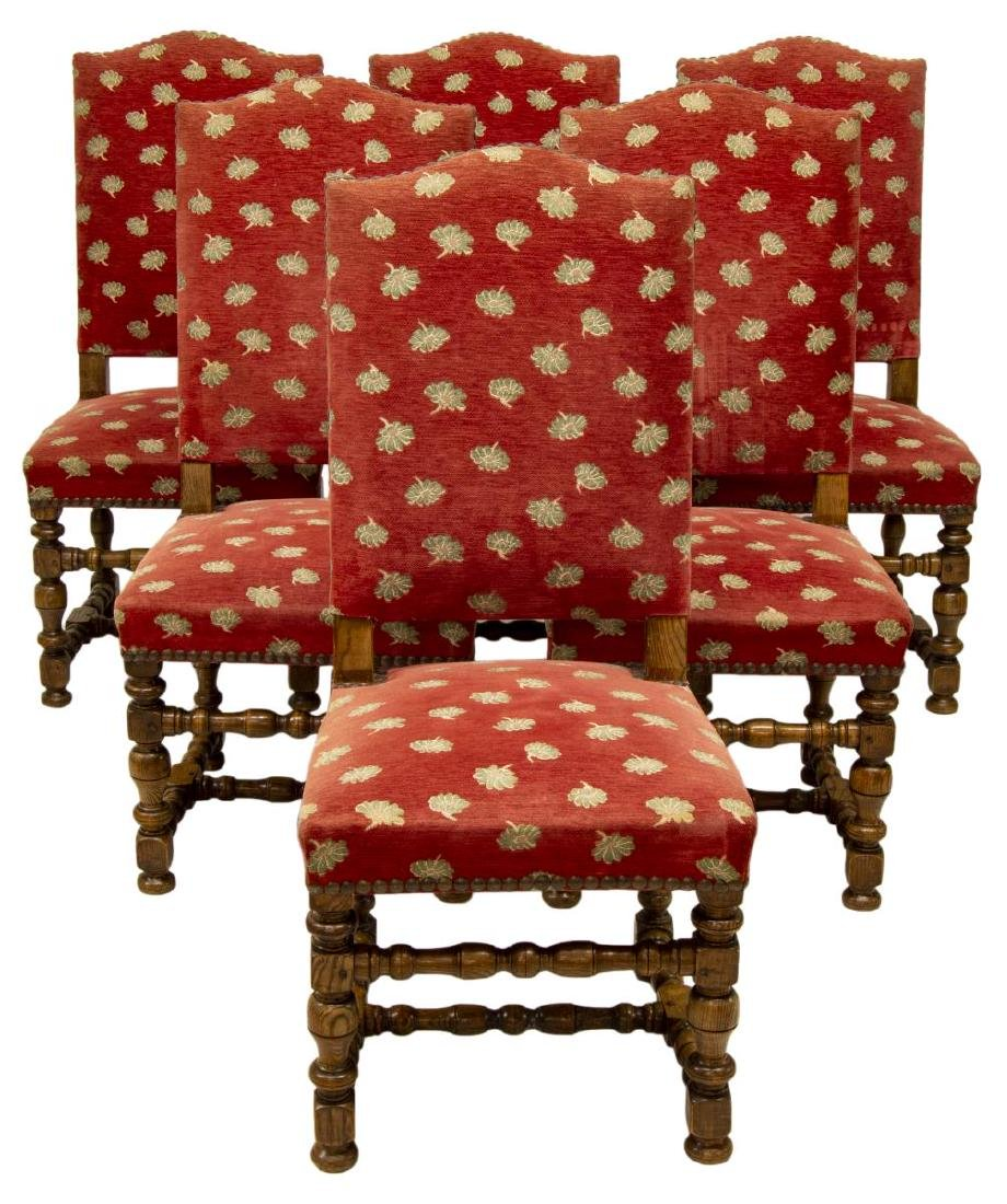 (6) FRENCH LOUIS XIII STYLE DINING CHAIRS