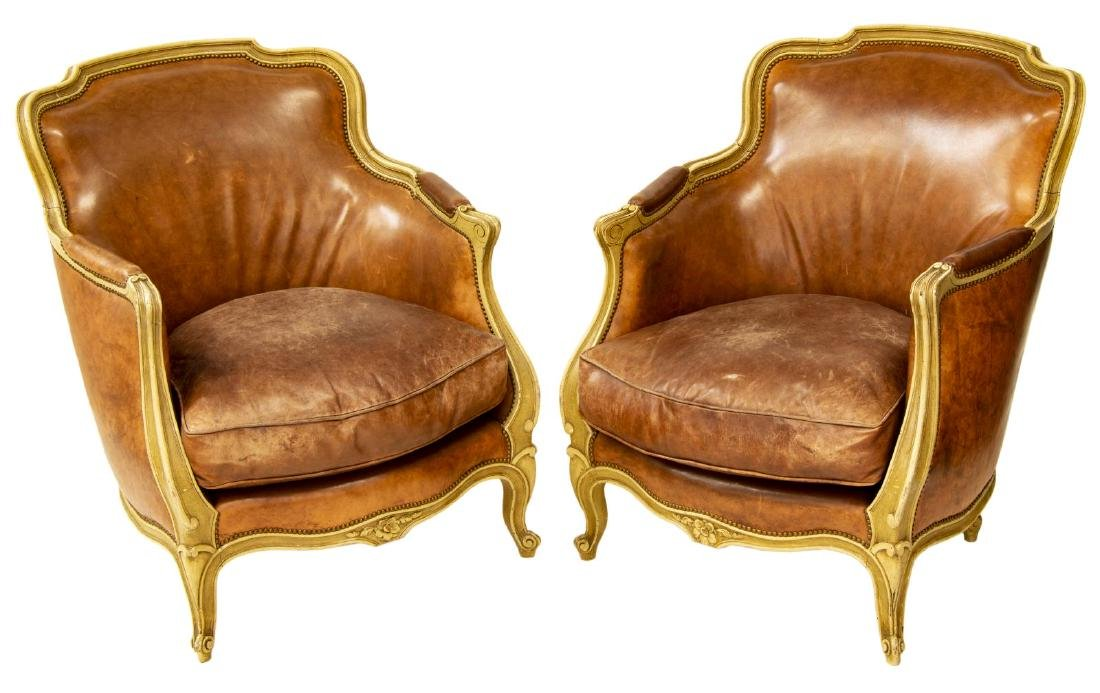 (PAIR) LOUIS XV STYLE LEATHER BERGERE ARMCHAIRS
