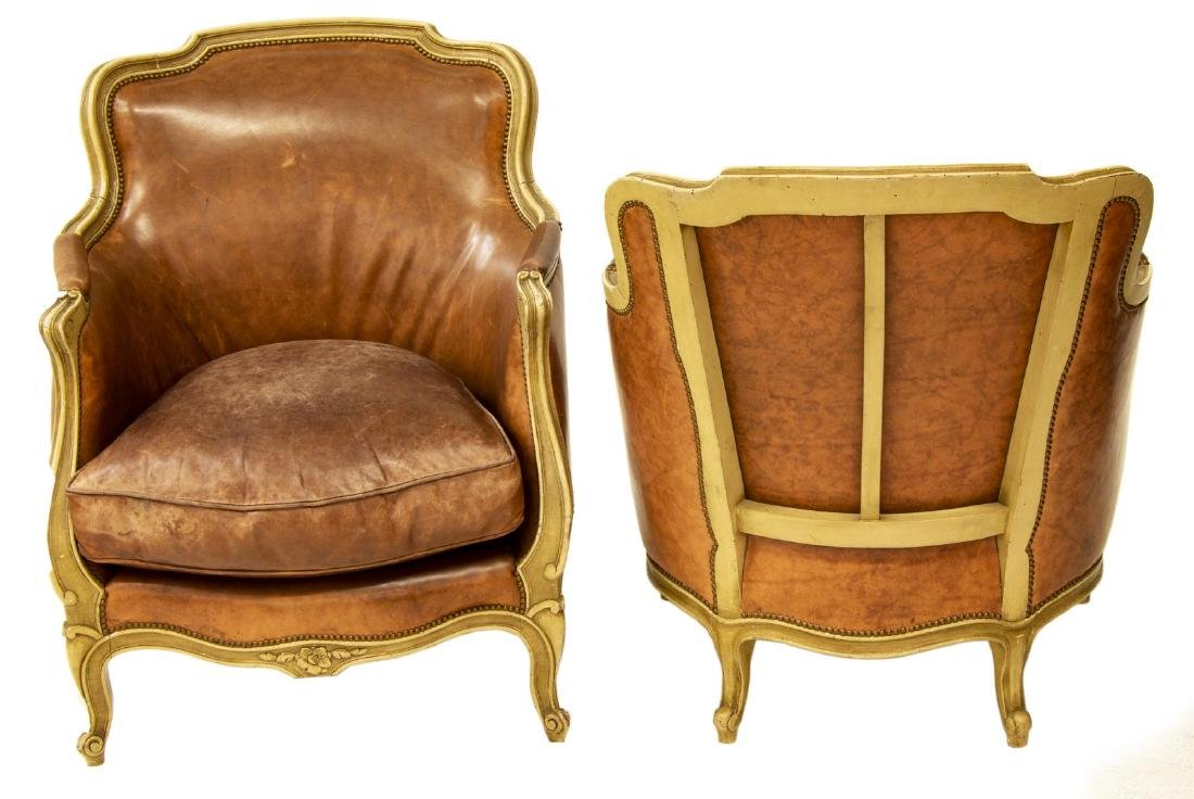 (PAIR) LOUIS XV STYLE LEATHER BERGERE ARMCHAIRS - 2