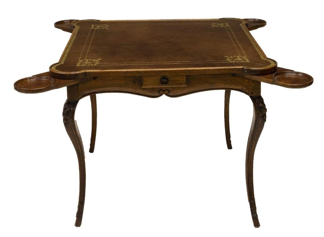 LOUIS XV STYLE EMBOSSED LEATHER TOP GAME TABLE - 2
