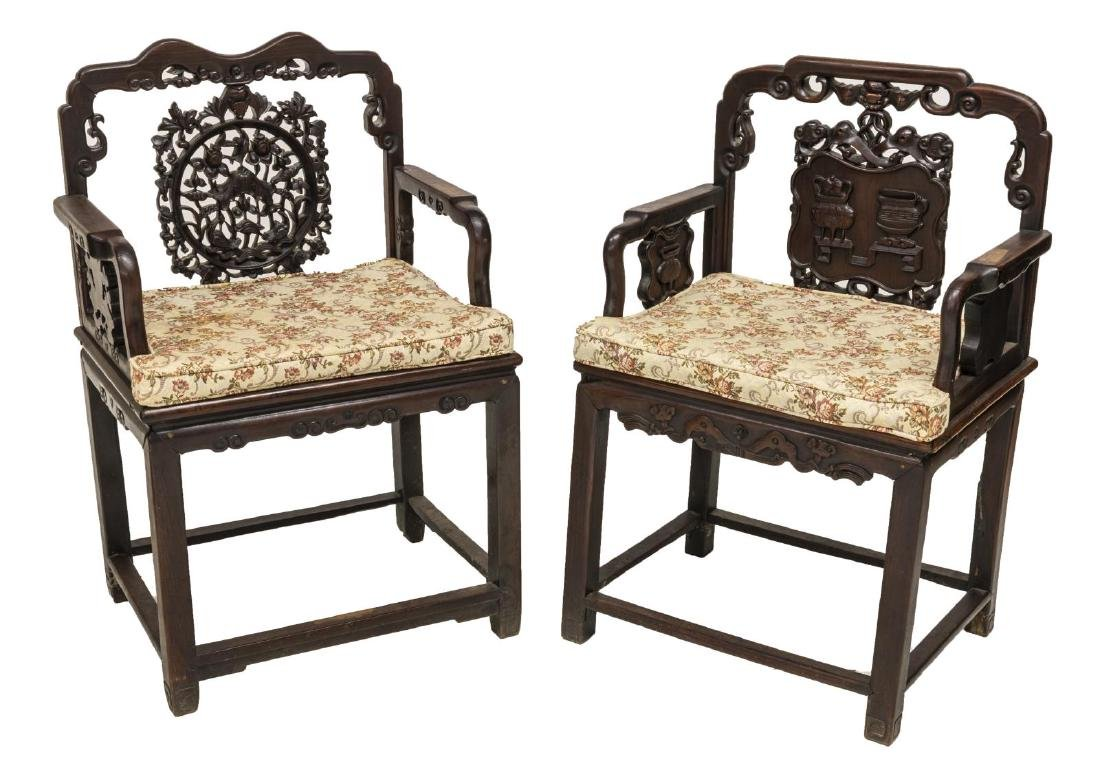 (2) CHINESE CARVED HARDWOOD CHAIRS