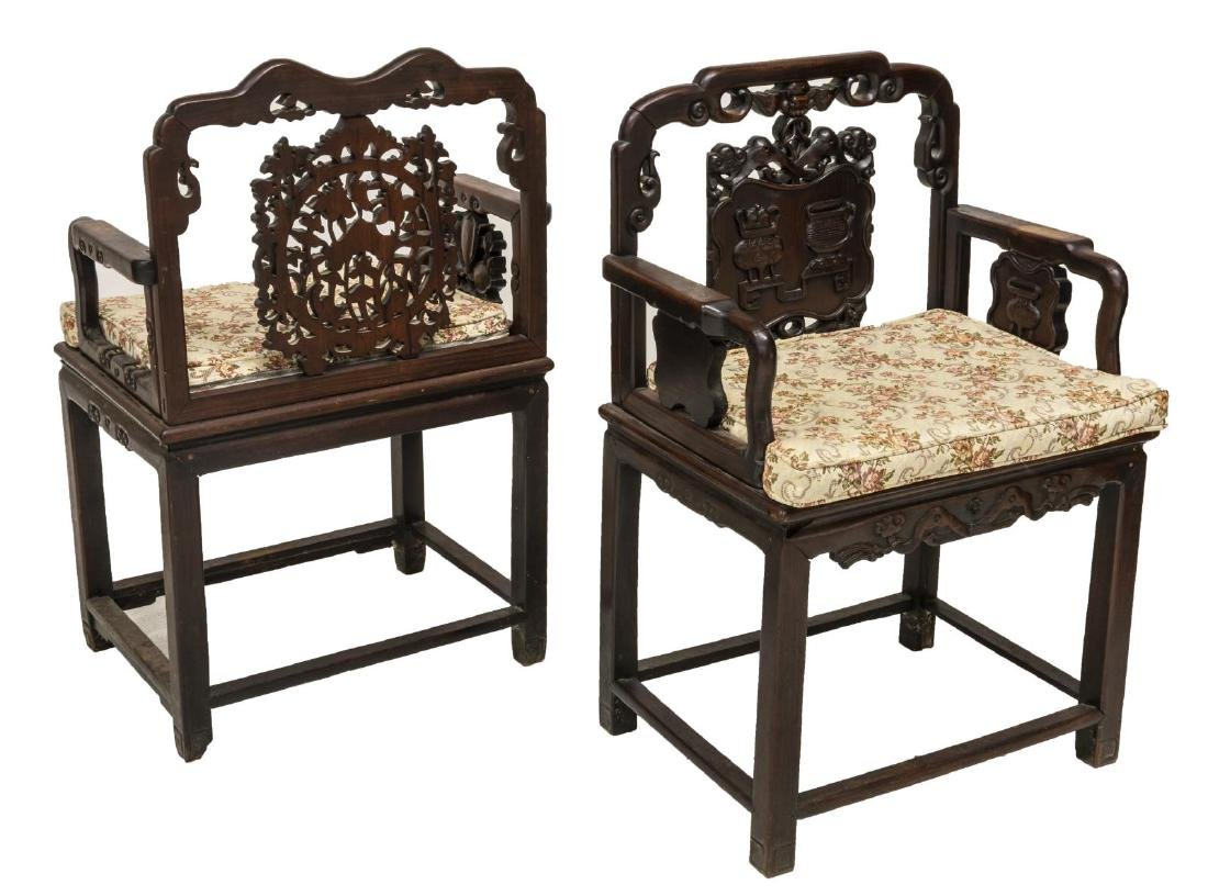 (2) CHINESE CARVED HARDWOOD CHAIRS - 2