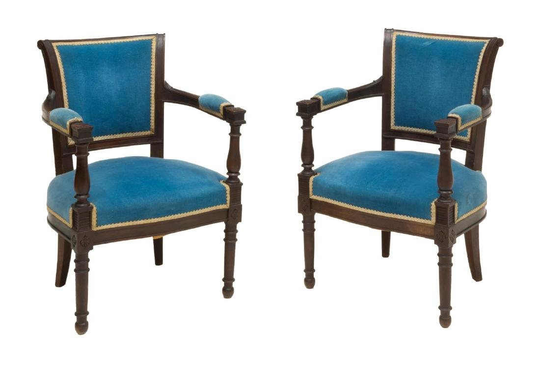 (PR) FRENCH UPHOLSTERED CARVED ARMCHAIRS