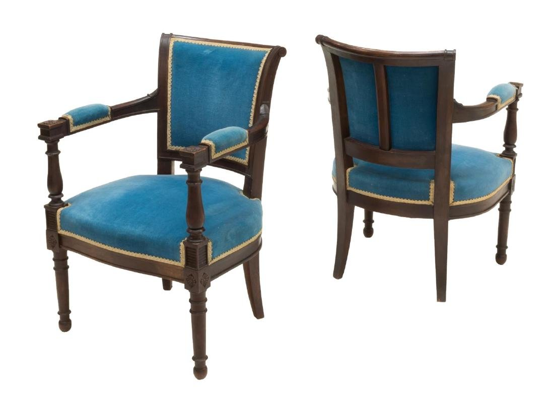 (PR) FRENCH UPHOLSTERED CARVED ARMCHAIRS - 2