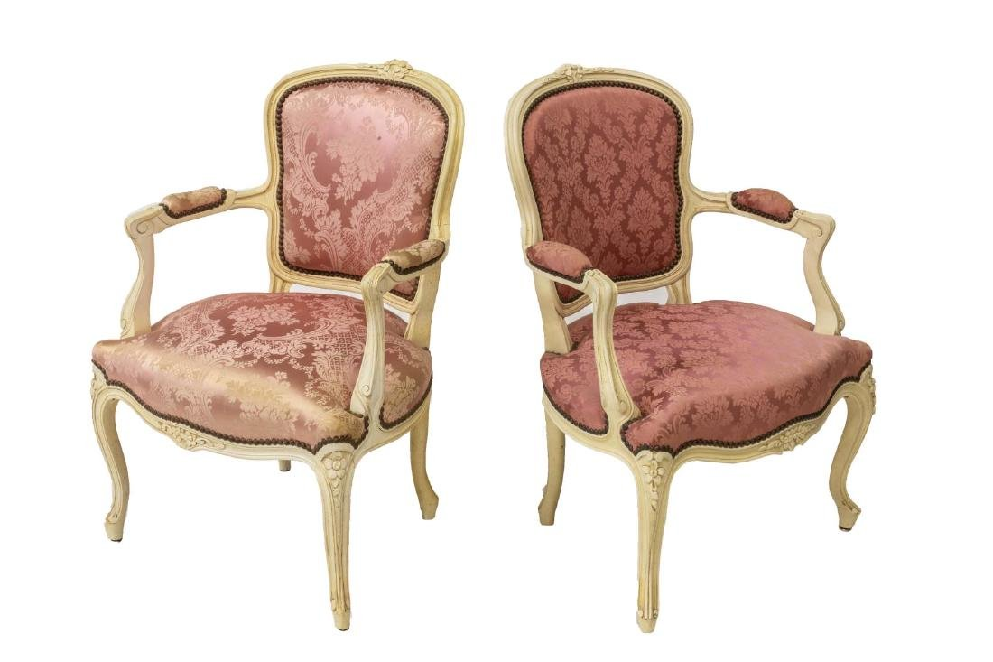 (PR) LOUIS XV STYLE FLORAL CARVED ARMCHAIRS
