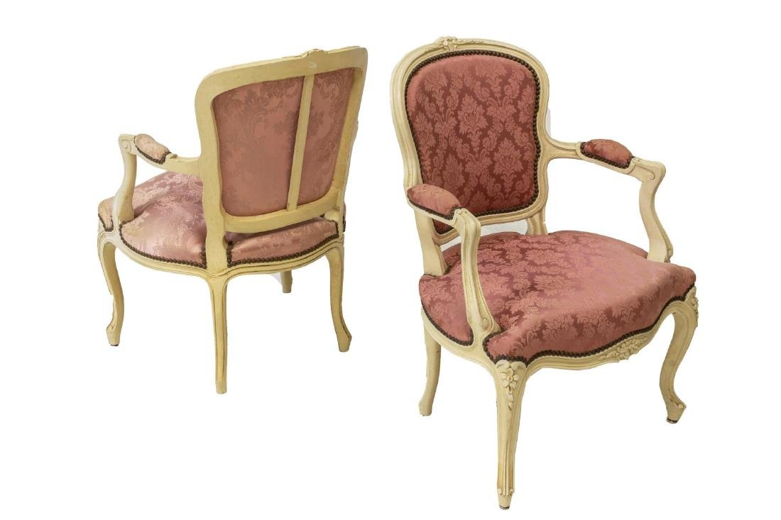 (PR) LOUIS XV STYLE FLORAL CARVED ARMCHAIRS - 2