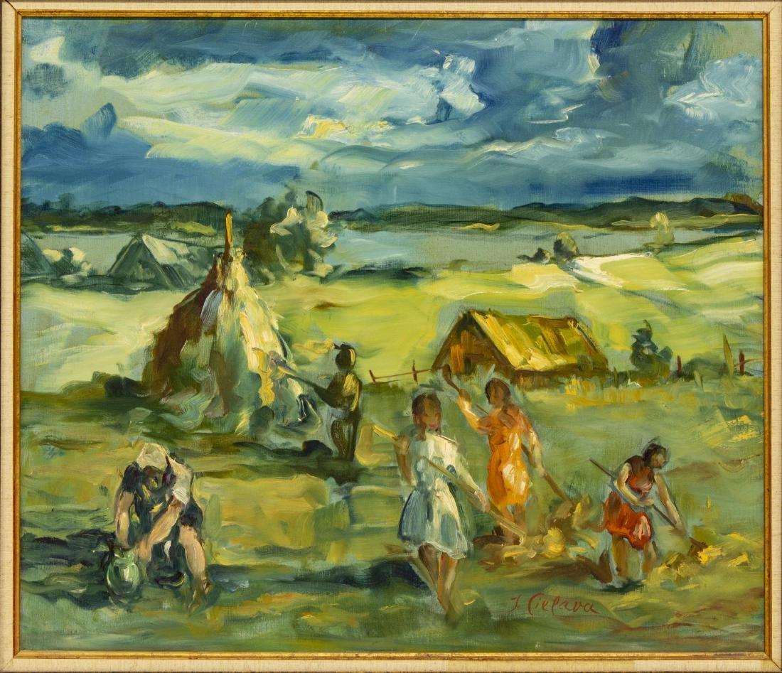 JANIS CIELAVA (D.1968) OIL ON CANVAS PAINTING