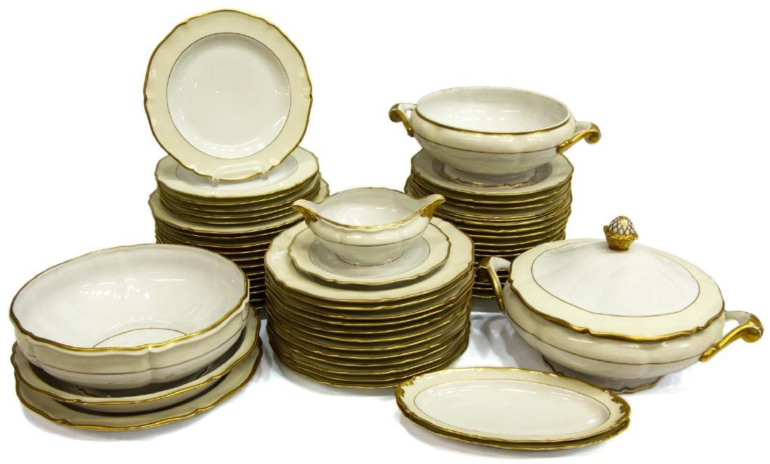 (55) FRENCH LIMOGES GILT PORCELAIN DINNER SERVICE