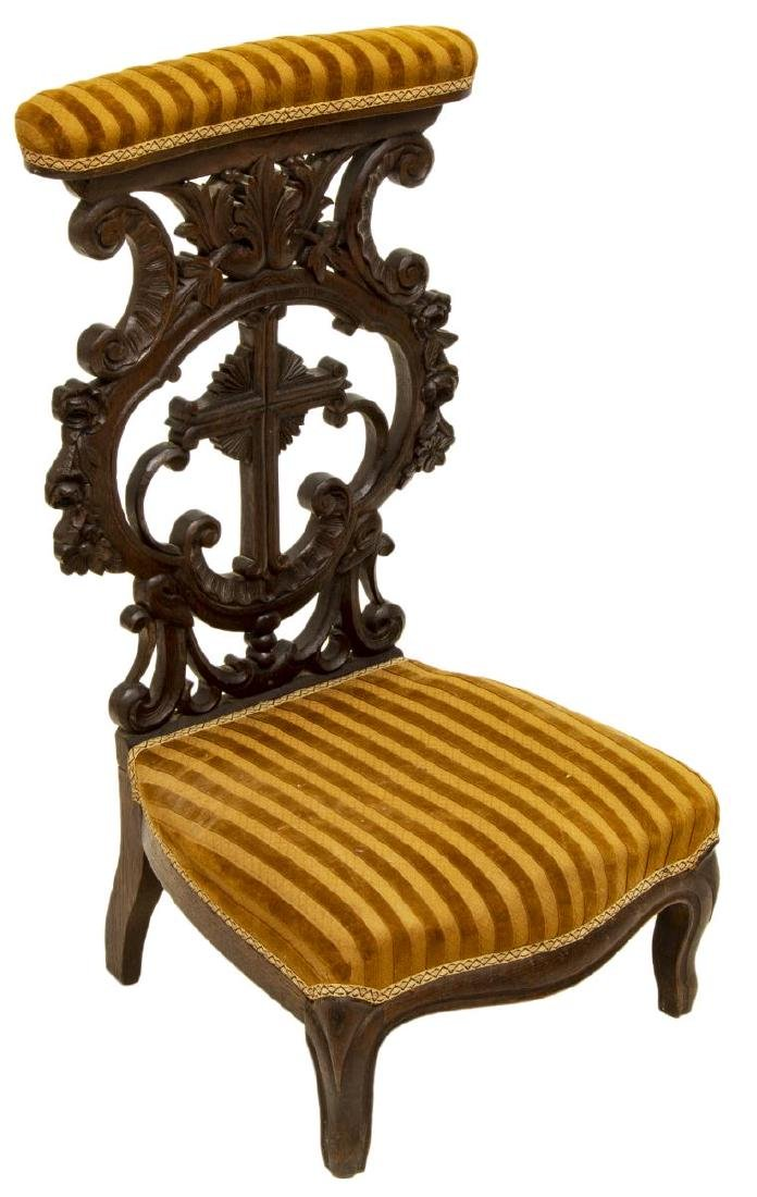 FRENCH CARVED UPHOLSTERED PRIE-DIEU PRAYER CHAIR