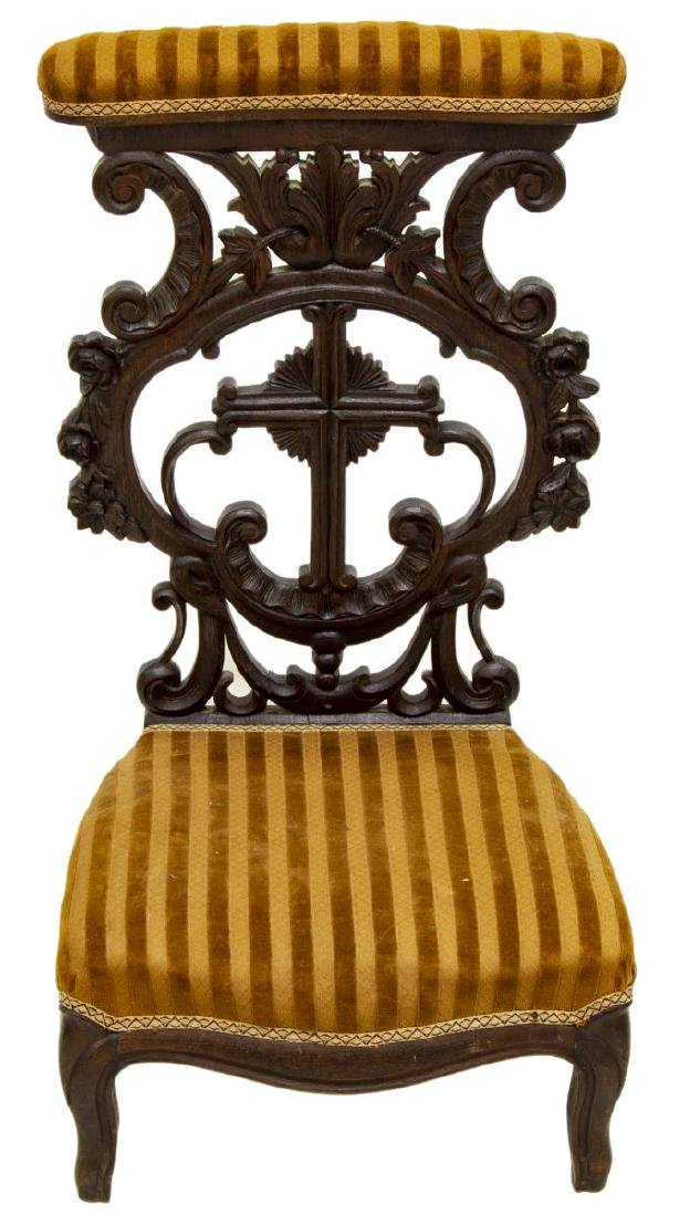FRENCH CARVED UPHOLSTERED PRIE-DIEU PRAYER CHAIR - 2