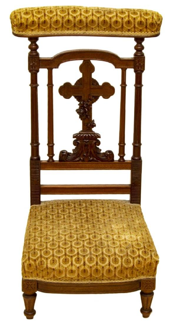ANTIQUE RELIGIOUS FRENCH CARVED PRAYER CHAIR - 2