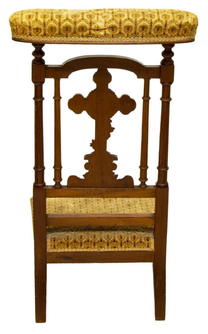 ANTIQUE RELIGIOUS FRENCH CARVED PRAYER CHAIR - 3