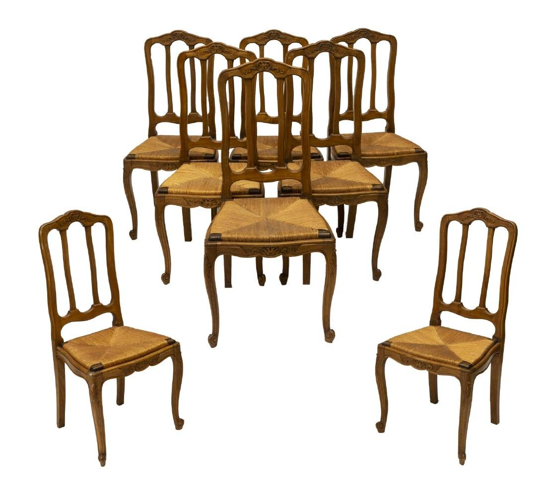(8) FRENCH LOUIS XV STYLE BEECH RUSH SEAT CHAIRS