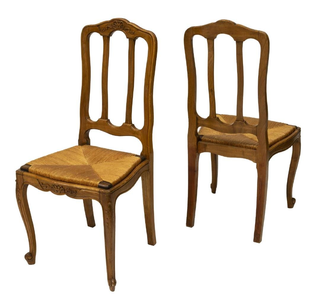 (8) FRENCH LOUIS XV STYLE BEECH RUSH SEAT CHAIRS - 2