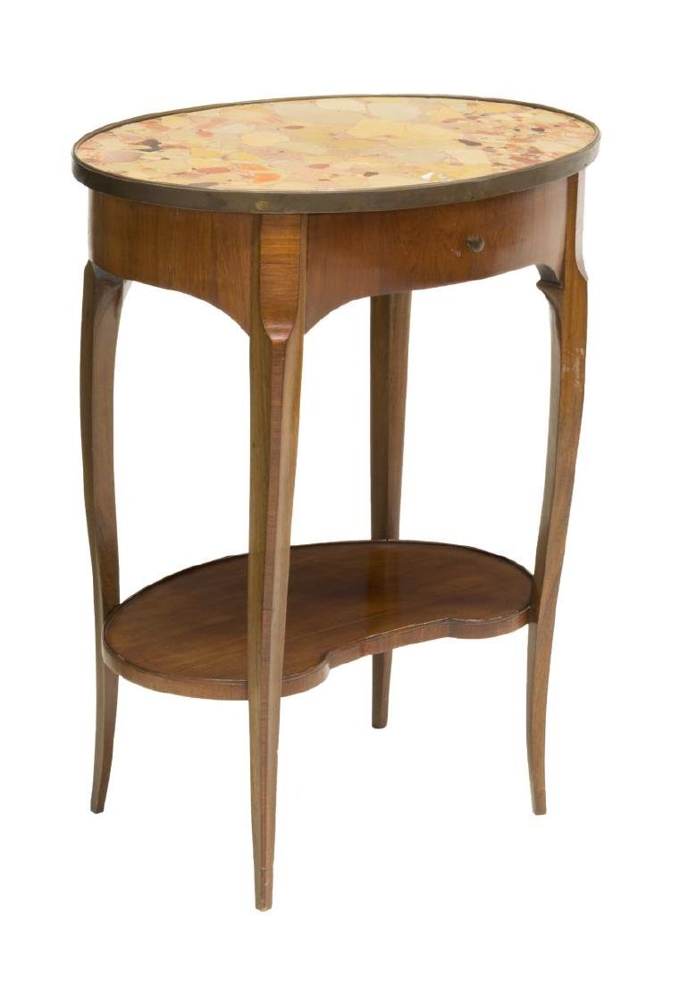 FRENCH LOUIS XV STYLE MAHOGANY & MARBLE SIDE TABLE