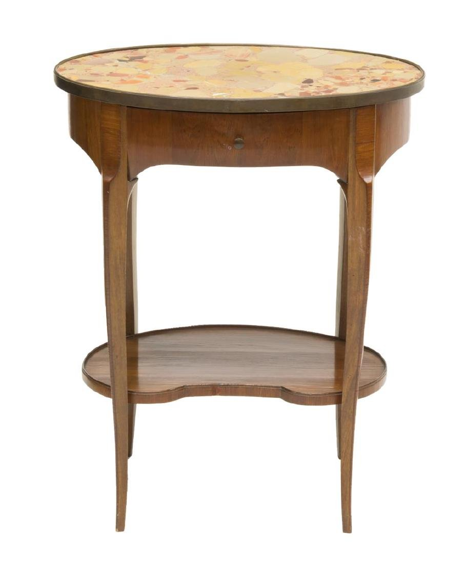 FRENCH LOUIS XV STYLE MAHOGANY & MARBLE SIDE TABLE - 2
