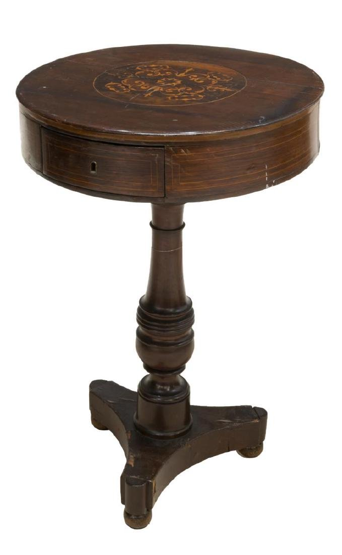 CONTINENTAL MARQUETRY PEDESTAL DRUM TABLE