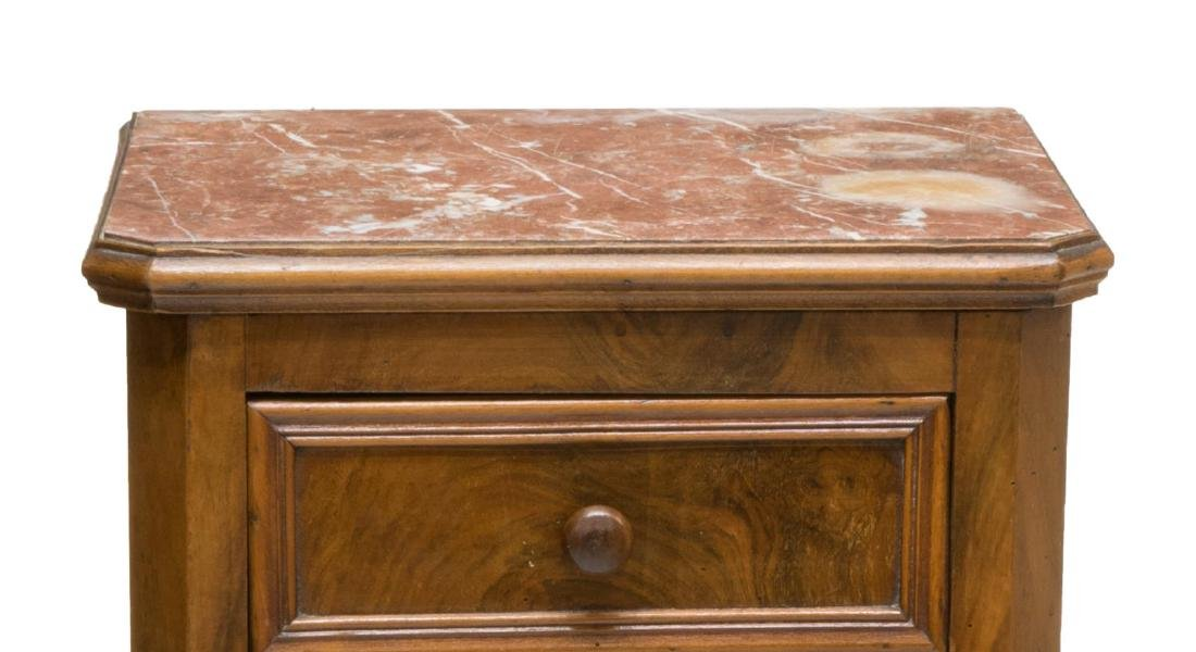 FRENCH FIGURED WALNUT MARBLE TOP SIDE TABLE - 3