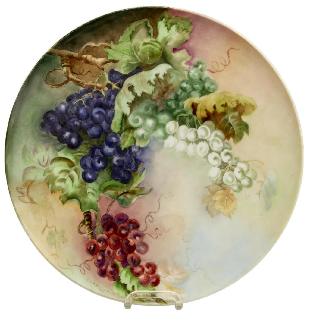 LARGE LIMOGES GRAPEVINE PAINTED CHARGER, 1907