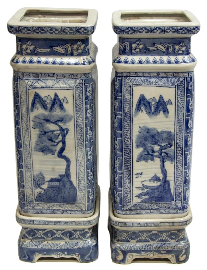 (2) CHINESE BLUE & WHITE SQUARE VASES ON STANDS