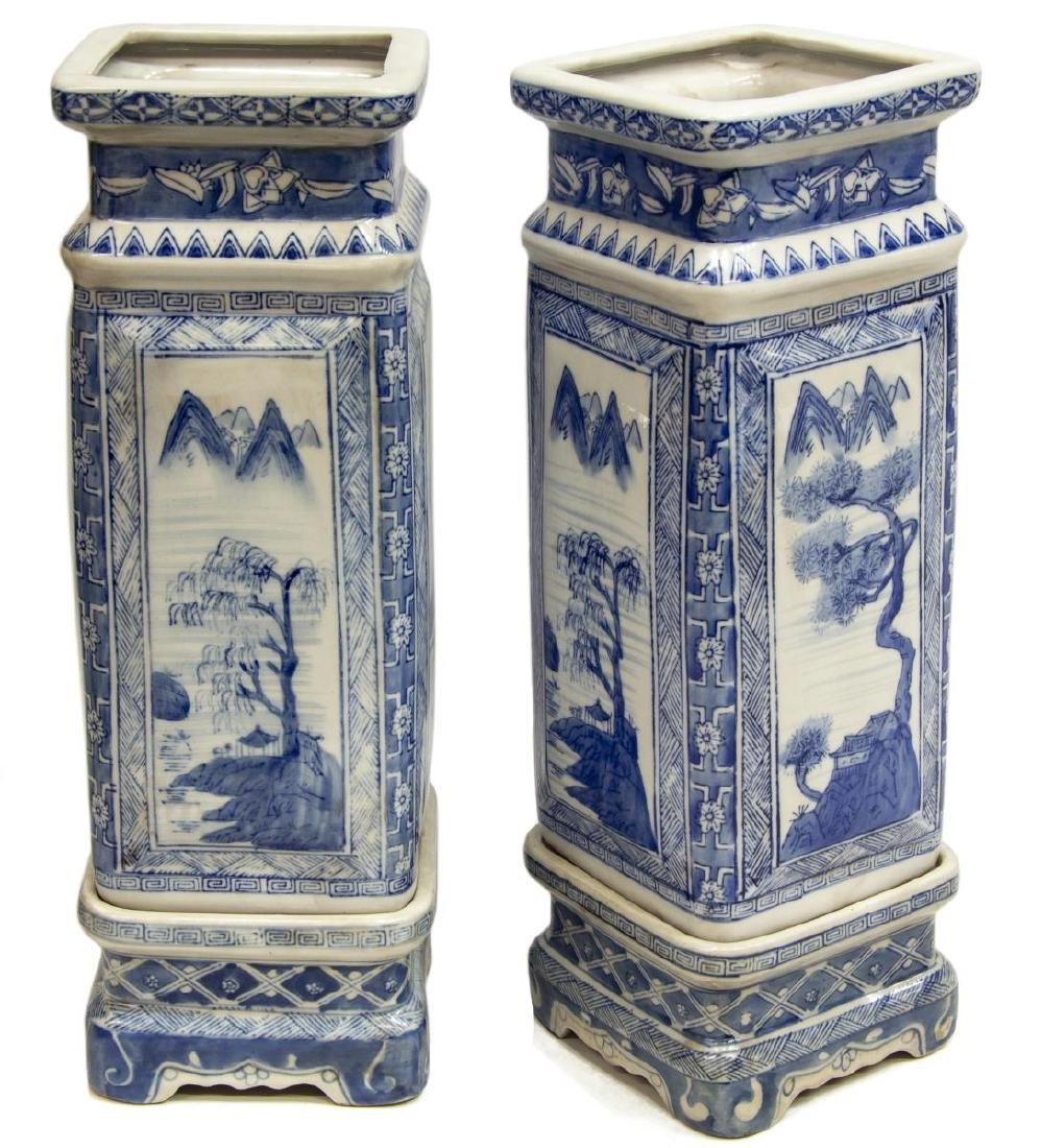 (2) CHINESE BLUE & WHITE SQUARE VASES ON STANDS - 2