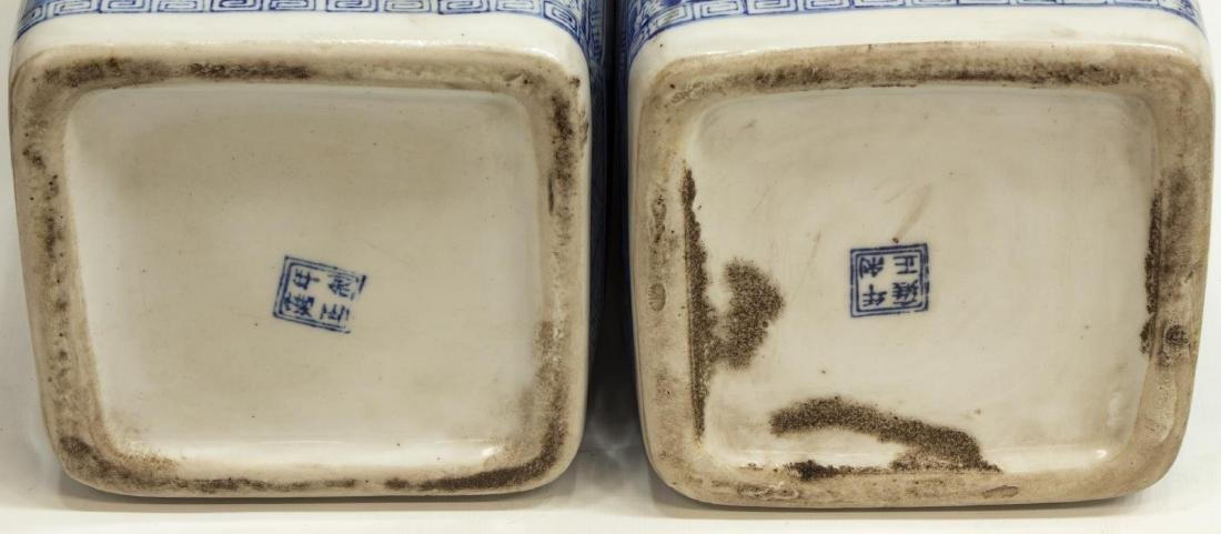 (2) CHINESE BLUE & WHITE SQUARE VASES ON STANDS - 3