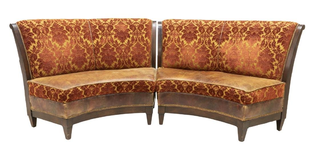 (2) UPHOLSTERED CURVED BANQUETTE BENCHES