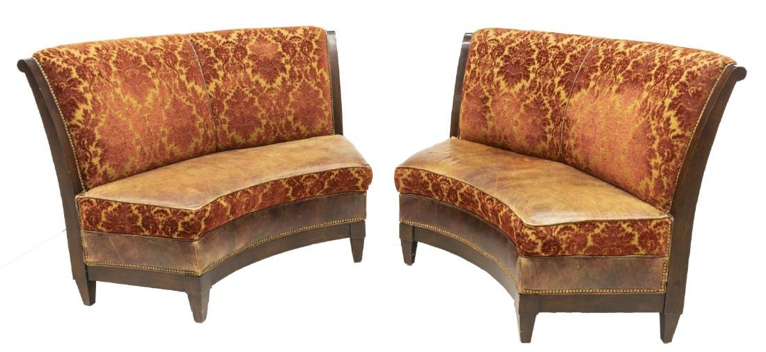 (2) UPHOLSTERED CURVED BANQUETTE BENCHES - 2