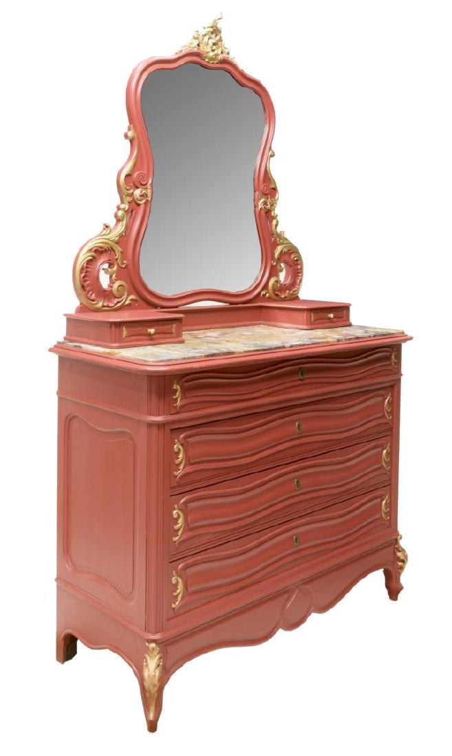 FRENCH LOUIS XV STYLE PAINTED VANITY COMMODE