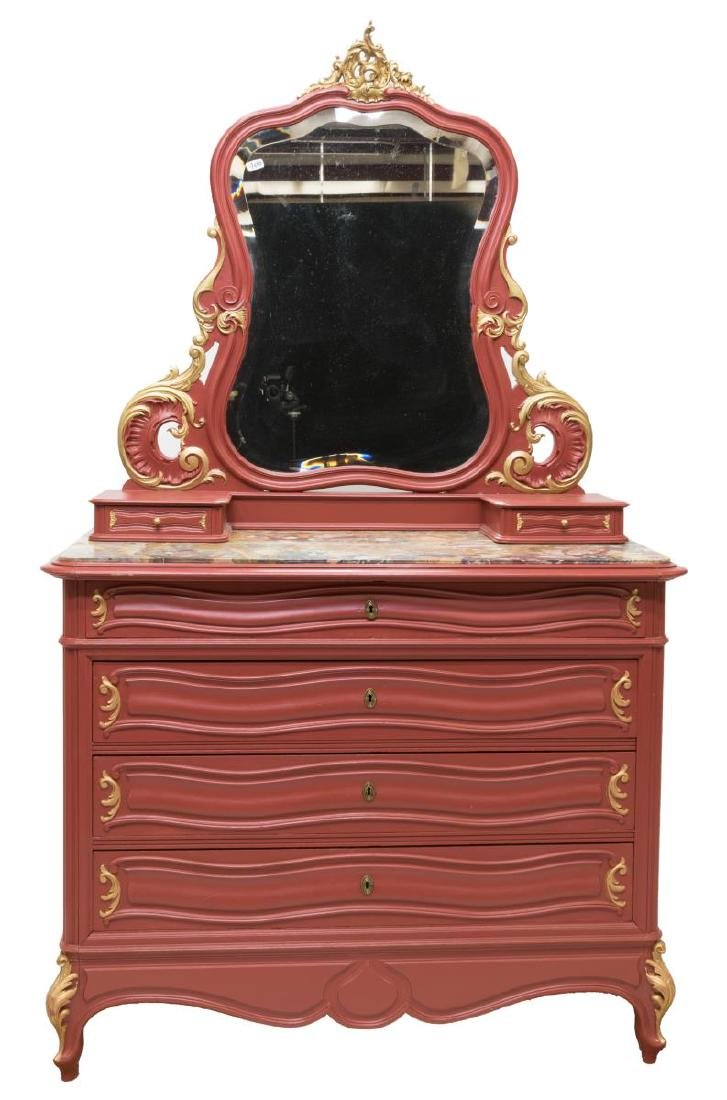 FRENCH LOUIS XV STYLE PAINTED VANITY COMMODE - 3