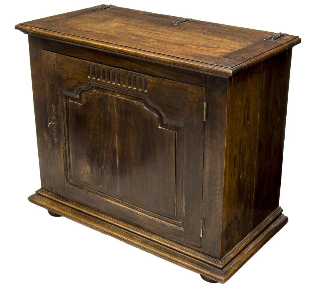 FRENCH LOUIS XVI STYLE CARVED OAK COFFER, C. 1850