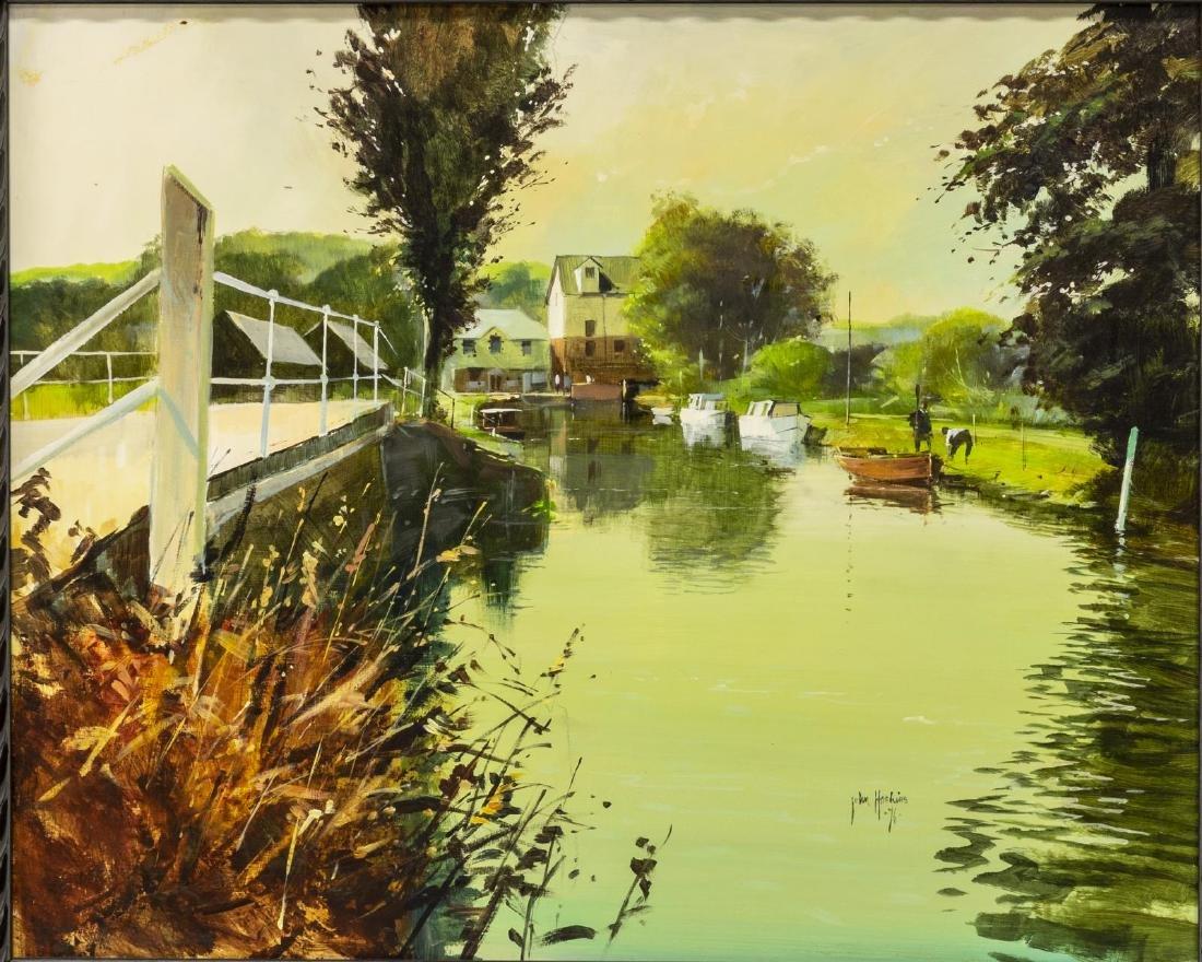 JOHN HASKINS (UK, B.1938) RIVER STORT OIL PAINTING