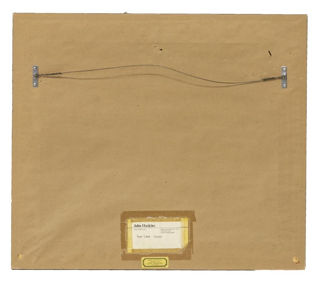 JOHN HASKINS (UK, B.1938) RIVER STORT OIL PAINTING - 4