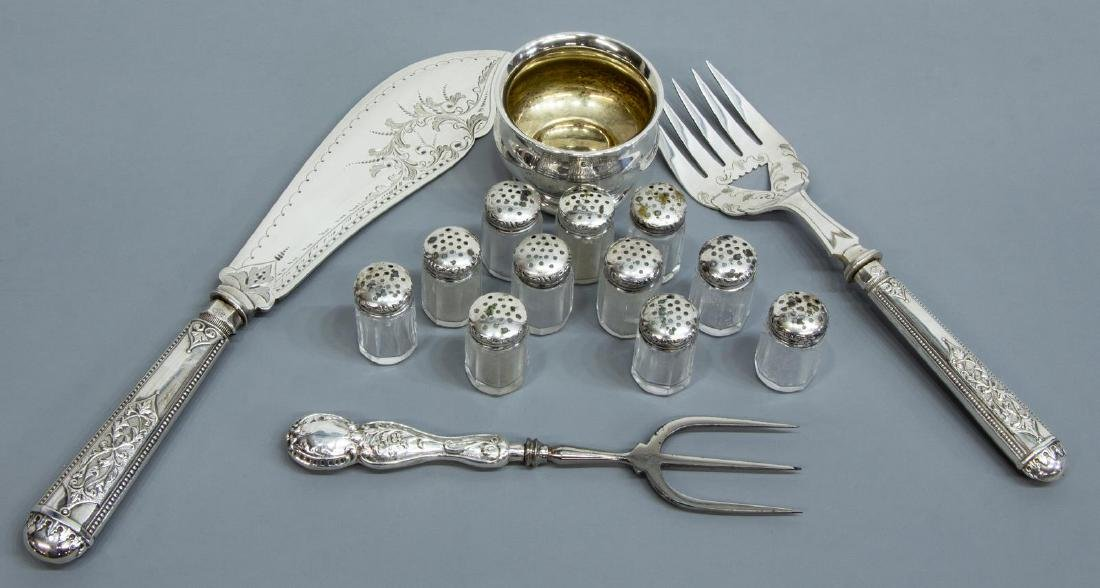 (15) COLLECTION OF STERLING, SILVERPLATE TABLEWARE
