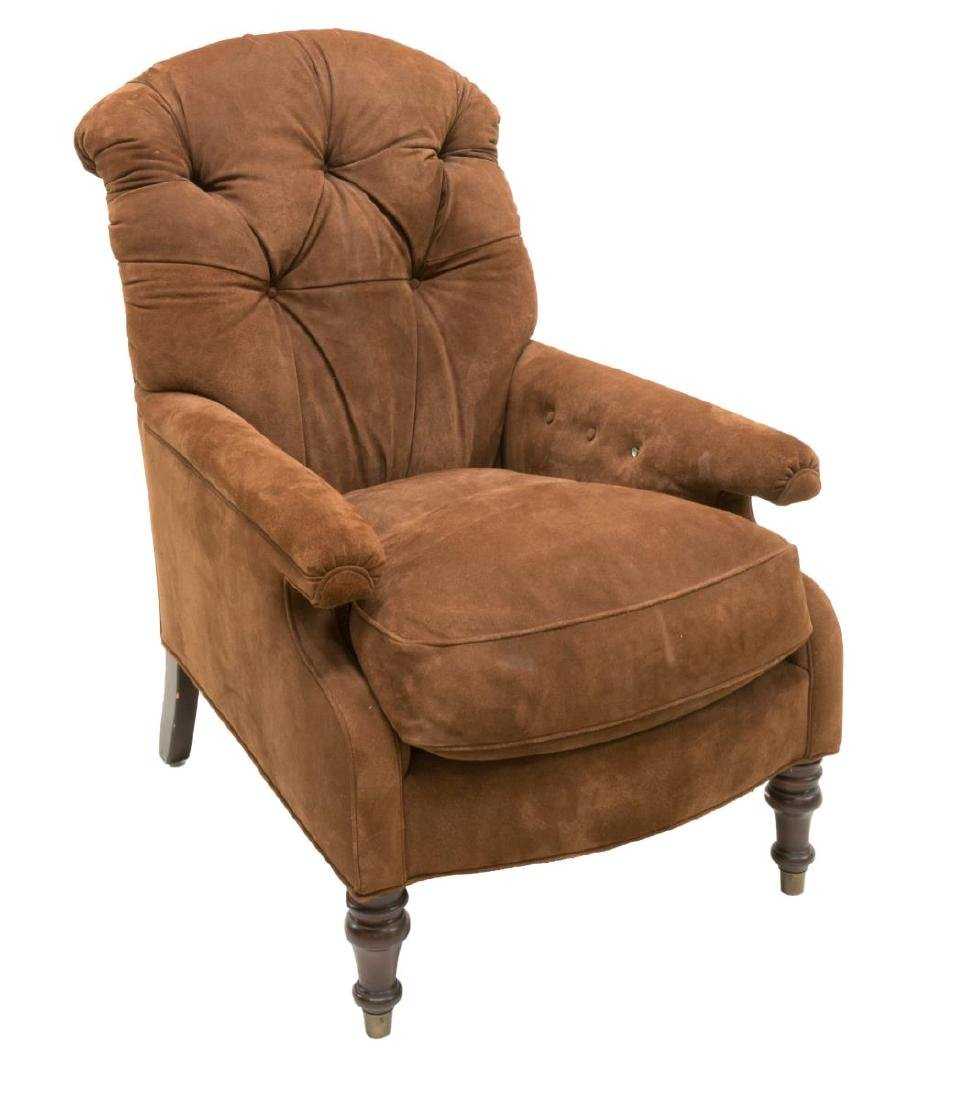 TUFTED BROWN SUEDE UPHOLSTERED ARMCHAIR