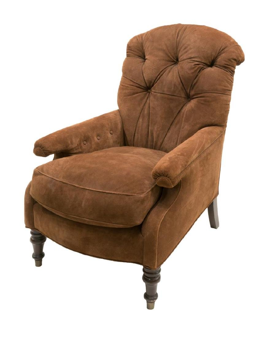TUFTED BROWN SUEDE UPHOLSTERED ARMCHAIR - 2