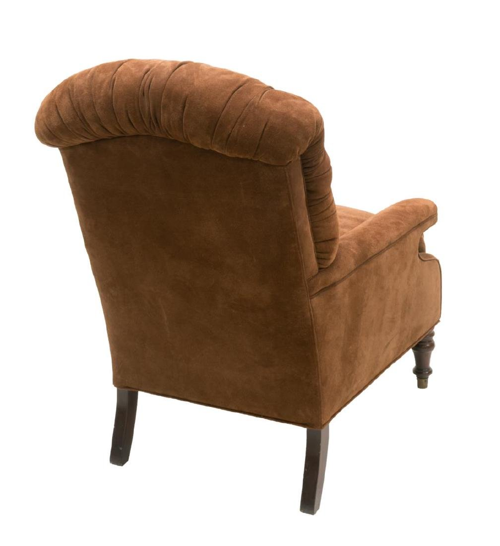 TUFTED BROWN SUEDE UPHOLSTERED ARMCHAIR - 3